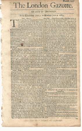 1684 London Gazette Newspaper