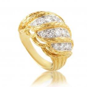 Vintage Van Cleef & Arpels 18k Yellow Gold Diamond Ring
