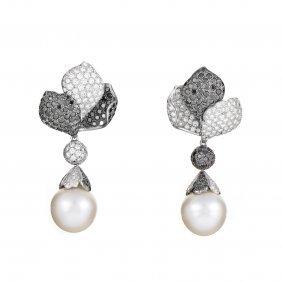 18k White Gold Multi-diamond & Pearl Dangle Earrings