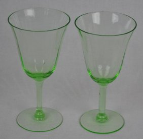 Pair Of Light Green Vintage Cocktail Glass