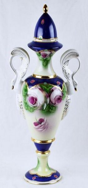 20 Inches Tall, Vintage Hand Painted Porcelain Vase