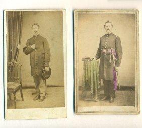 Lot Of 2 C1864 Civil War Soldier & Officer In Uniform W