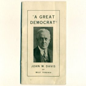 C 1924 Presidential Campaign Booklet For Democrat, John