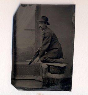 C 1870 Unusual Occupational Carpenter W Hand Saw