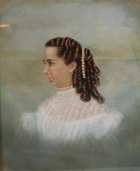 Antique 19c Original Painting: Young Girl Portrait