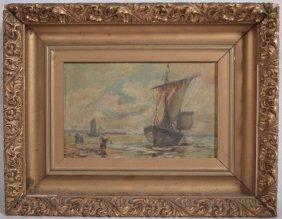 Antique European Oil Painting Seascape Figures Boats