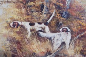 Vintage Oil On Canvas Hunting Bird Dogs Signed Framed