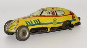 Vintage 1950's Tin Litho Wind-up Yellow Streamline