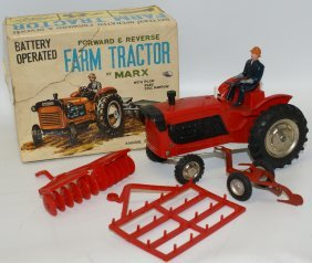Vintage Marx Japan Battery Op Red Plastic Farm Tractor