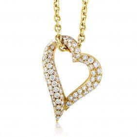 Boucheron: 18k Gold Diamond Heart Necklace