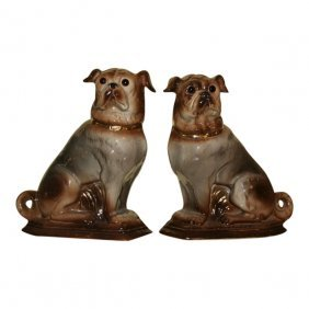 A Pair Of Staffordshire Pugs C1890
