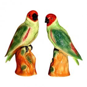 A Pair Of Colorful Staffordshire Parrots C1890