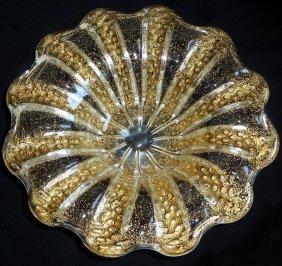 Barovier Toso Murano Gold Flecks Art Glass Bowl