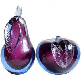 Alfredo Barbini: Murano Apple & Pear Bookends