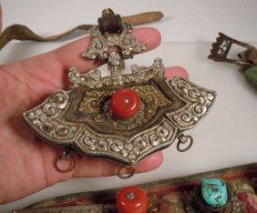 Antique Tibet Belt Pouch Leather, Silver, Brass,