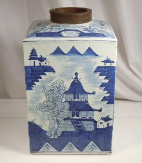 18/19th Century Chinese Large Blue & White Canton