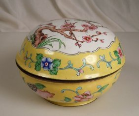 Vintage Chinese Yellow Canton Enamel Covered Box