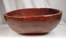 Antique Korean Carved Wood Bowl