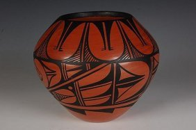 Native American Pottery Red : Jemez Polished Red Pot,
