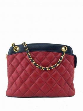 Chanel Vintage Quilted Lambskin Shoulder Bag Red