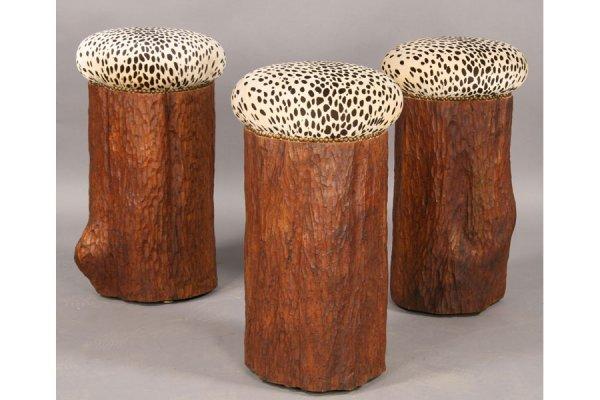 18 Set 3 Carved Tree Stump Bar Stools Faux Leopard Lot 18