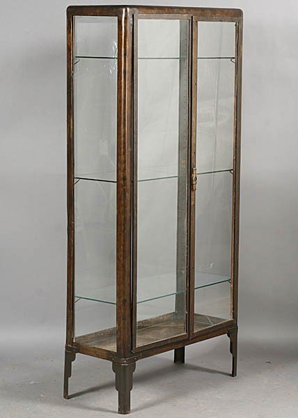 430 vintage metal vitrine glass doors lot 430. Black Bedroom Furniture Sets. Home Design Ideas