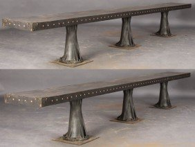 PAIR GOTHIC LONG METAL BENCHES INDUSTRIAL