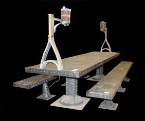 GOTHIC INSPIRED METAL DINING TABLE STRAP RIVET