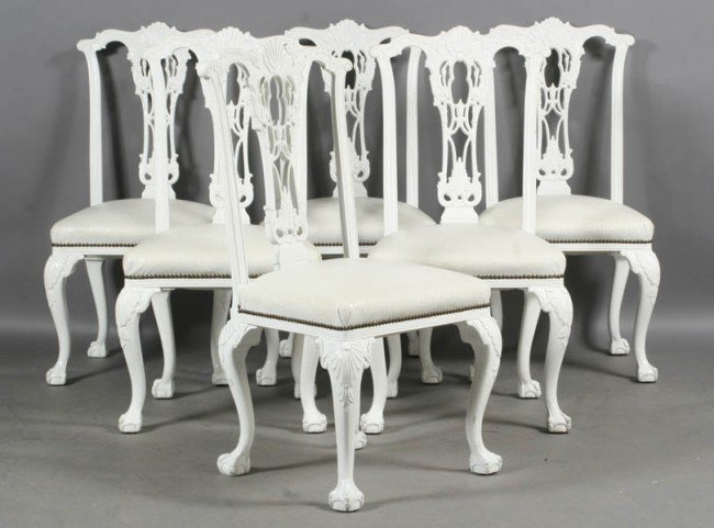 50 SET 6 CHIPPENDALE WHITE PAINTED DINING CHAIRS Lot 50