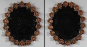 PAIR WROUGHT IRON FLORAL FRAME MIRRORS
