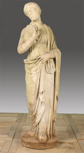 19TH CENT. ITALIAN CARVED MARBLE STANDING WOMAN