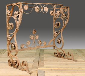 FRENCH WROUGHT IRON GARDEN CONSOLE TABLE BASE