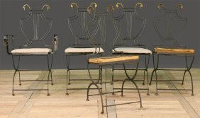 5 REGENCY STYLE WROUGHT IRON FOLDING CHAIRS