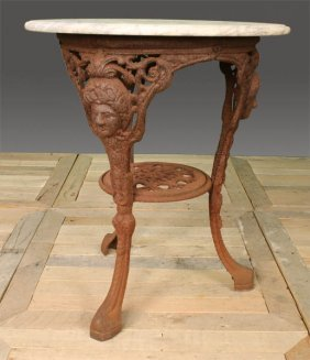 VICTORIAN CAST IRON GARDEN TABLE MARBLE TOP