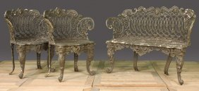 AMERICAN CAST IRON GARDEN BENCH MATCHING CHAIRS