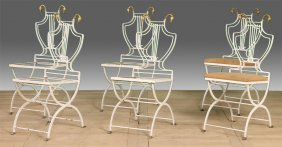 Six Iron And Bronze Lyre Back Folding Garden Chair