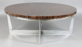 MODERN COFFEE TABLE MACASSAR TOP & CHROME BASE