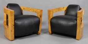 PAIR ART DECO STYLE CLUB CHAIRS UPHOLSTERED