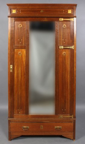 SECESSIONIST STYLE ARMOIRE MOTHER PEARL