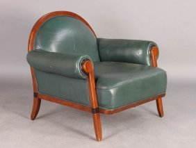 ART DECO STYLE LEATHER CLUB CHAIR C.1960
