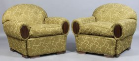 ART DECO CLUB CHAIRS MACASSAR VENEER