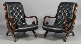 PAIR LEATHER CAMPECHE STYLE LOUNGE CHAIRS