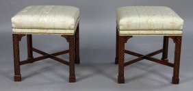 PR LABELED HICKORY STOOLS CARVED WOOD C.1950