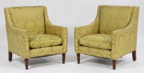 PR ADAMS STYLE UPHOLSTERED CLUB CHAIRS C.1920