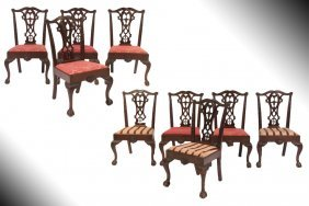 SET 9 ANTIQUE MAHOGANY CHIPPENDALE STYLE CHAIRS