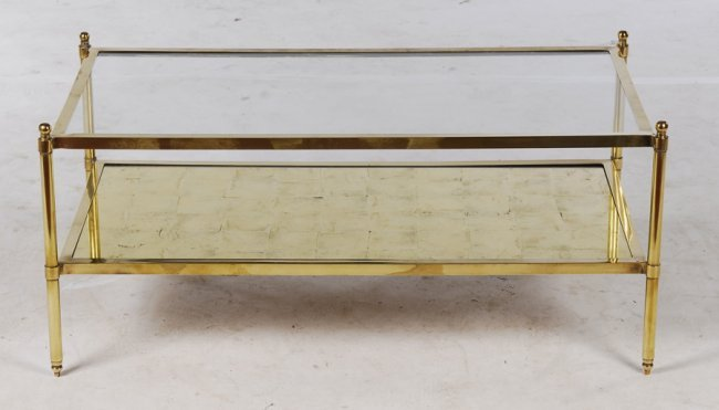 Modern Brass Coffee Table Gold Glass Top Lot 826