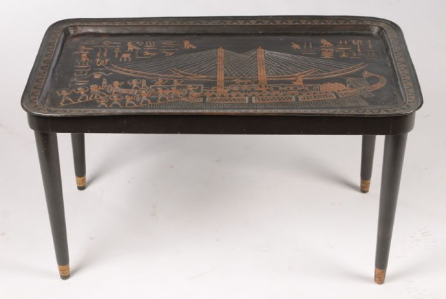 Egyptian Inspired Tray Mounted As Coffee Table Lot 1046