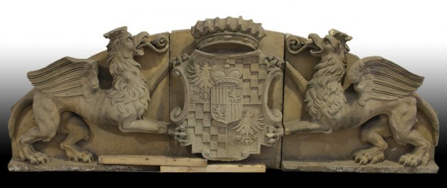 Carved veronese stone frieze family crest lot