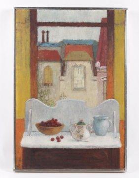 """ELSIE MANVILLE """"SPRUCE STREET""""OIL ON CANVASE 1953"""