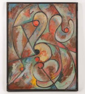 KARL KNATHS SIGNED ABSTRACT OIL ON CANVAS